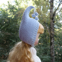 Blythe hat blue knitted hat for Blythe doll fantasy cap, blythe helmet, blythe outfit, gnome hat, pixie hat, beanie