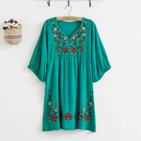Flowers Embroidered women Blouse Maternity Dresses Casual dress Cotton Vestidos Maternidade  pregnancy clothing Summer APPAREL