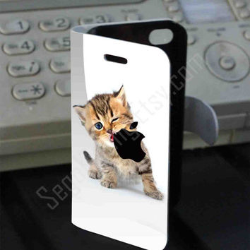 Kitten Eating Apple Logo PVC (syntetic) Leather Folio Case for iPhone and Samsung Galaxy