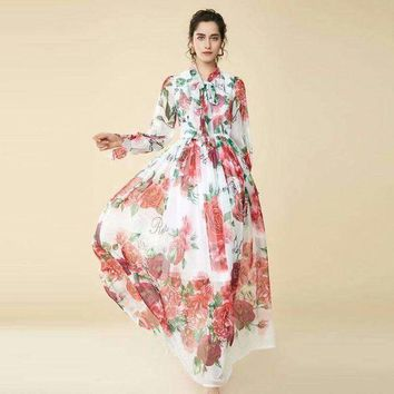 DCCKON3 2018 Spring Autumn High-end Scarf Collar Rose Pattern Print Slim Mid-Calf Long Dress Women's Fashion All Matched Expansion Dress