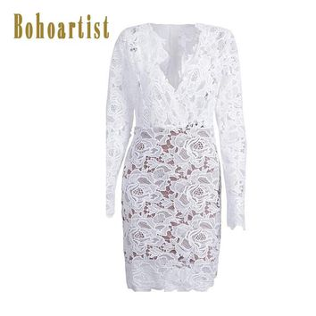Bohoartist Women Bodycon Lace Dress White Sexy Hollow Out Party Spring Elegant Dresses Summer Casual Sheath Bodycon Dress 2018