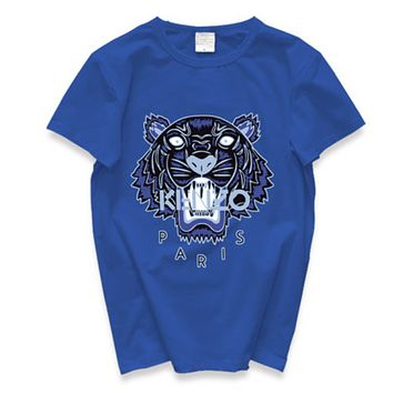 Kenzo Fashion New Summer Letter Tiger Print Leisure Women Men Top T-Shirt Blue