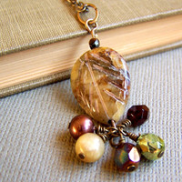 Green Leaf Gemstone Pendant Necklace with Bead Cluster