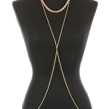 Gold Twisted Rope Metal Necklace And Body Chain