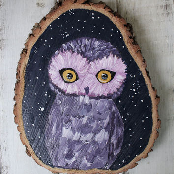 Purple Night Owl - Owl - art - wood painting - tree art - painting - live oak - boho - hipster - nature - handpainting