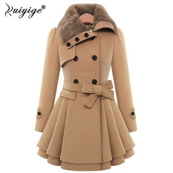 Ruiyige Winter Jacket Women Woolen Trench Coat Double Buckle Windbreaker Thicken Coats Female Jacktes Plus Size 4XL