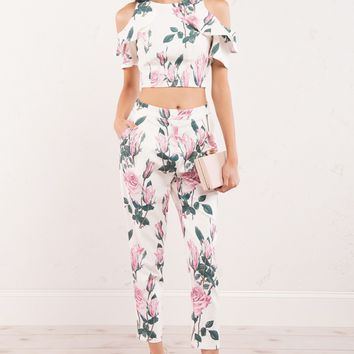 Pink Rose Floral Trouser Dress Pants