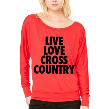 Live Love Cross Country WOMEN'S FLOWY LONG SLEEVE OFF SHOULDER TEE