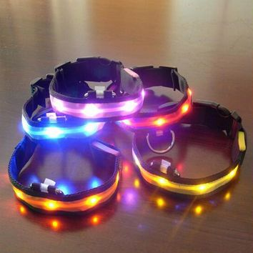 LED Name Nylon Pet Dog Collar Luminous Night Safety Led Light-up Flashing Glow In The Dark For Puppy Cat Small Dogs Collars