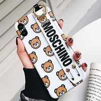 MOSCHINO Fashionable Couple Cute Teddy Bear Soft Mobile Phone Cover Case For iphone 6 6s 6plus 6s-plus 7 7plus 8 8plus X XSMax XR White