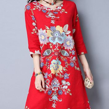 Streetstyle  Casual Printed Cotton/Linen Shift Dress