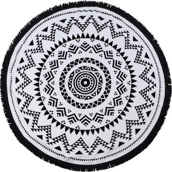 "Round Beach Towel - ""Black Sand Beach"" SwimZip Roundie"