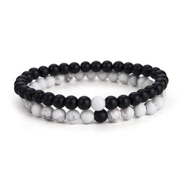2 Pcs/Set Black White Distance Bracelet Charms Yoga Meditation Braslet For Men Women Lovers Best Friend BFF Jewelry Gift