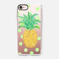 Pineapple and Greenie Dots - Transparent/Clear background iPhone 7 Case by Lisa Argyropoulos | Casetify