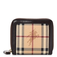 BURBERRY Haymarket Check Zip Around Wallet Chocolate