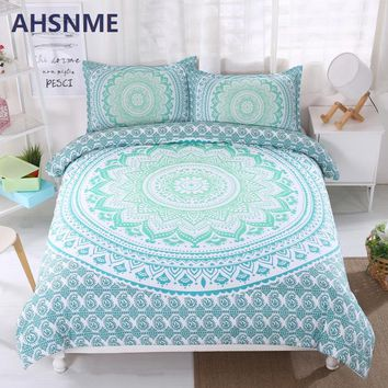 AHSNME Bohemian Bedding Set Gradient Color Duvet Cover Soft Bohe Bed Set Green Mandala Quilt Cover Sets King Queen 3pcs