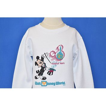 90s Mickey Mouse Walt Disney World 20 Magical Years Sweatshirt Youth Small