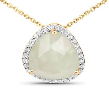 LoveHuang 3.47 Carats Genuine Prehnite and White Topaz Pendant Solid .925 Sterling Silver With 18KT Yellow Gold Plating, 18Inch Chain