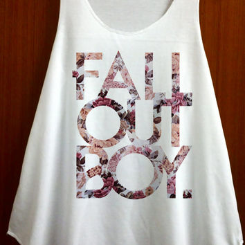 Fall Out Boy Shirt Tank Top Pop Rock Music Tanktop TShirt T Shirt Singlet Vest Women shirts Clothing - Size S M