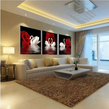 Art Oil Painting 3pcs(no frame) rose canvas