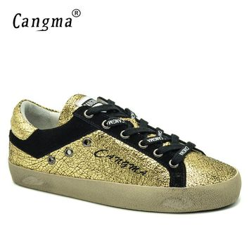CANGMA Italian Designer Brand Vintage Oman Casual Shoes Spring Autumn Handmade Patent Leather Golden Bass Breathable Women Shoes