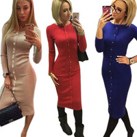 Warm 2016 Autumn Winter Dress Knitted Knee-Length O-neck Dresses package hip Women Sheath Bodycon Dress Robes Vestidos
