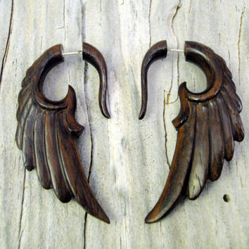 Fake Gauge Earrings Wooden Earrings Wings Angel Tribal Earrings - Gauges Wood -FG002 W ALL
