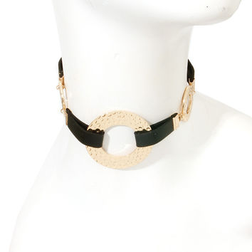Faux LEATHER TEXTURED Gold CIRCLE CHOKER Statement Necklace & Earrings SET
