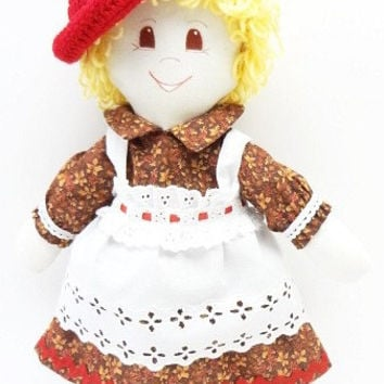 handmade Rag Doll cloth body girl ragdoll fabric toy brown eyed blond hand made rag dolls NF181