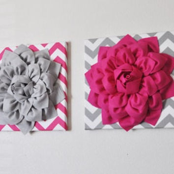 TWO Mix and Match Hot Pink and Gray Dahlia Chevron Canvas Set