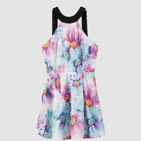 Halter Floral Printed  Pleated Strappy Back  Mini Dress