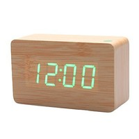 KABB Light Brown Wood Grain Green LED Light Alarm Clock - Time Temperature - Sound Control - Latest Generation(USB/3xAAA)