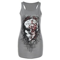 Summer Tops Women Skull Skeleton Print Vest Tops Blouse Club Party T-Shirt Tee Ropa De Mujer Moda 2017 #B0
