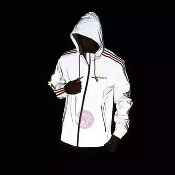 ADIDAS Fashion Glance Hooded Zipper Cardigan Sweatshirt Jacket Coat Windbreaker Sports