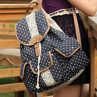CrazyPomelo Polka Dot Lace Crochet Canvas Backpack (Dark Blue)