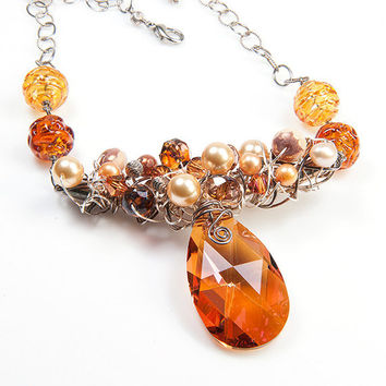 Gold Crystal Necklace, Pendant Necklace, Chunky Necklace, Beaded Necklace,