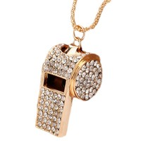 1 PIECE crystal Whistle Necklace Full Rhinestone Jewelry