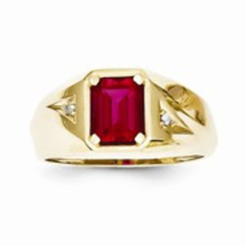 10k Yellow Gold Ruby & Diamond Men's Ring