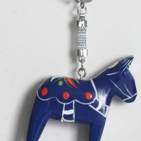 Blue Key Ring Swedish Dala Horse