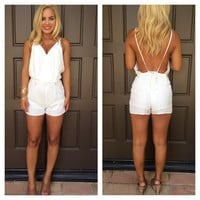 Flower Child Open Back Romper - WHITE