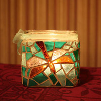 Dragonfly Mosaic Candle Holder, Dragonfly Stained Glass Vase