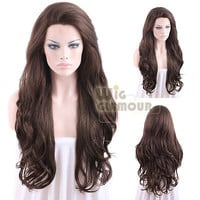 "Long Wavy 26"" Dark Brown Lace Front Wig Heat Resistant"