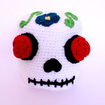 Sugar skull beanie- Women's Skull hat-  Adult Day Of The Dead crocheted beanie.