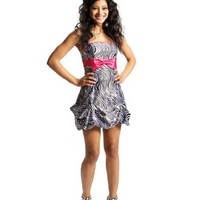 Zebra Strapless Satin Bubble Prom Dress Holiday Coctail Party Gown w/ Color Bow
