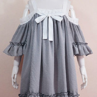 Black and white check smock bell sleeve dress