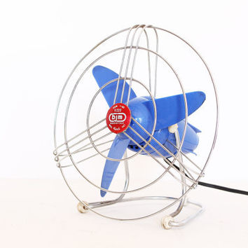 Vintage retro blue 50s fan by bjm