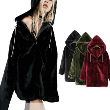 Sexy thickness velvet long hoodie dress sweater Black