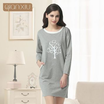 Qianxiu Casual Nightgown For Women Three Quarter Sleepskirts Knee-length Sleepwear Underwear