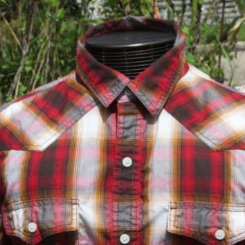 Urban Up Red Rust Plaid Western Mens Long Sleeve Button Up Shirt Sz Large