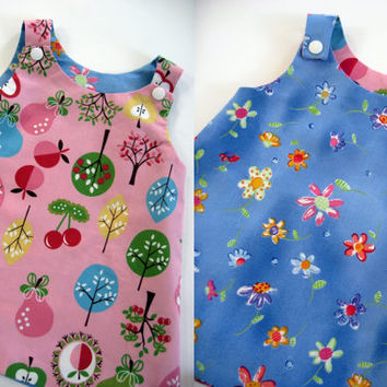 Reversible baby dress with matching baby bonnet infant dress a-line dress flowers and fruit pink and blue new baby shower gift summer outfit